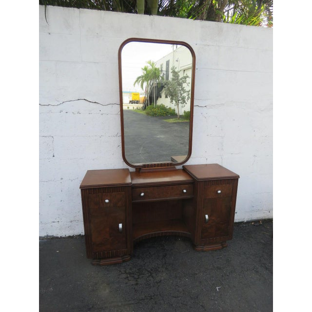 Art Deco Art Deco Walnut Set of Vanity Writing Desk With Mirror and Chair For Sale - Image 3 of 11