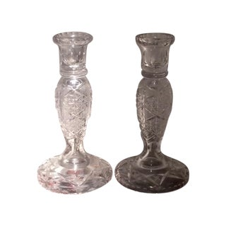 Antique ABP Cut Crystal Candlestick Holders - 2