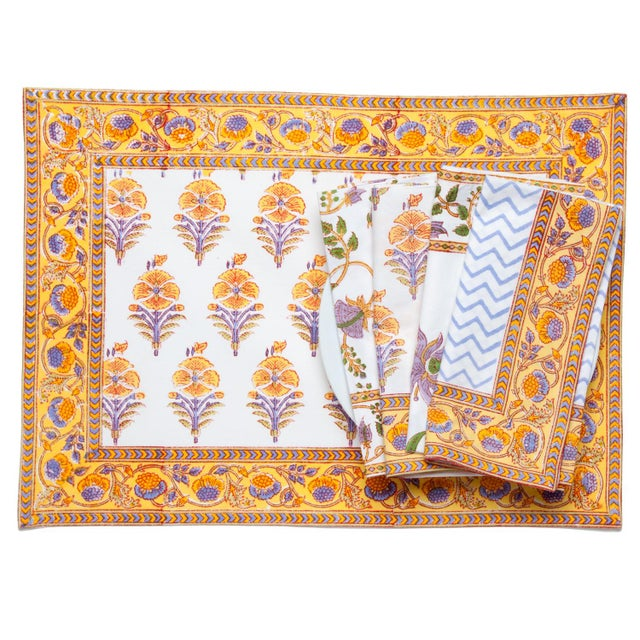 Contemporary Juhi Flower Placemats Yellow - A Pair For Sale - Image 3 of 5
