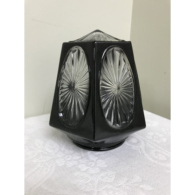 Black 1950s Vintage Black & Clear Glass Hexagon Sconce Shade For Sale - Image 8 of 8