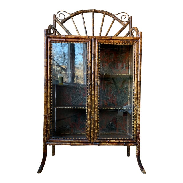Antique Burnt Bamboo Etagere With Glass Front For Sale
