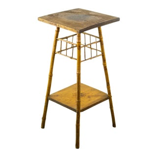 Early 20th C. American Bamboo Two-Tiered Occasional Side Table For Sale