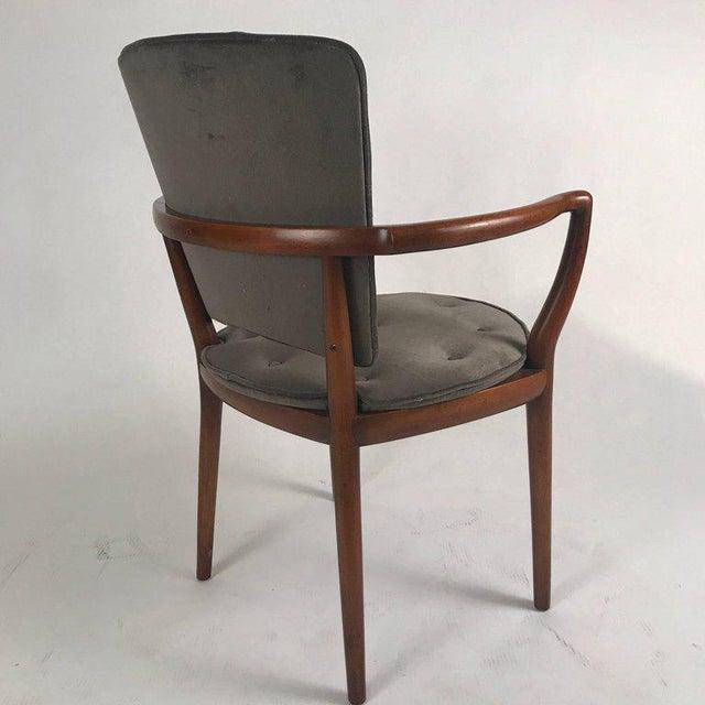 Bert England for Widdicomb Desk/ Armchair in Grey Velvet With Tufting For Sale - Image 10 of 12