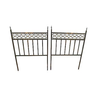 Hollywood Regency Vintage Pair of Custom Brass Twin Size Bed Headboards For Sale