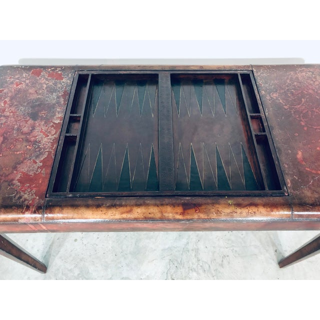 Mid-Century Modern Maitland Smith Distressed Leather Game Table For Sale In Miami - Image 6 of 13
