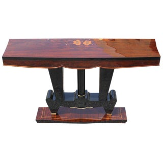 Classic French Art Deco Exotic Macassar Ebony Console Table For Sale