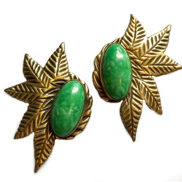 Art Deco 1930s Green Cabochon Dress Clips - a Pair For Sale - Image 3 of 5