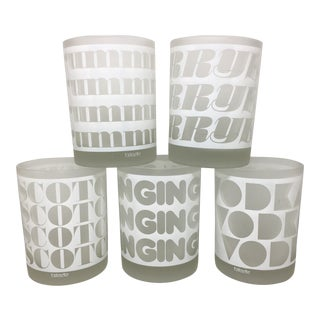 Mid Century Modern Typography Glasses - Set of 5 For Sale