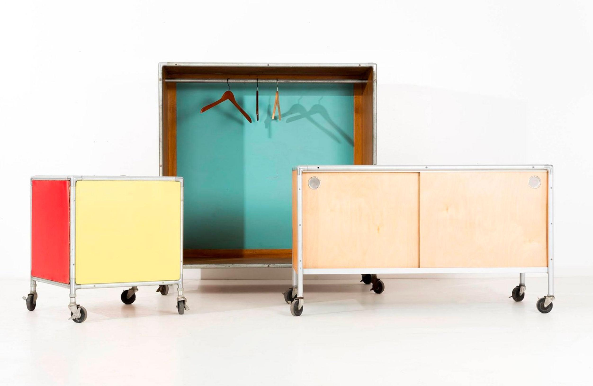 H.P.Glass For Fleetwood Furniture Co. Credenza, Features Sliding Doors With  Aluminum Circular Pulls