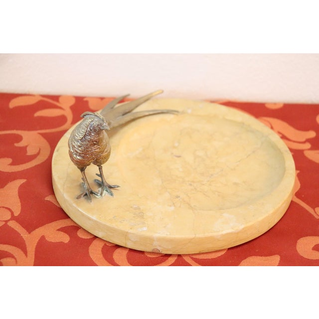 20th Century Italian Artistic Marble Plate With Gilded Bronze Bird Sculpture For Sale - Image 4 of 8