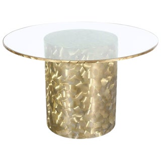 1970s Brass and Glass Top Dining Table For Sale