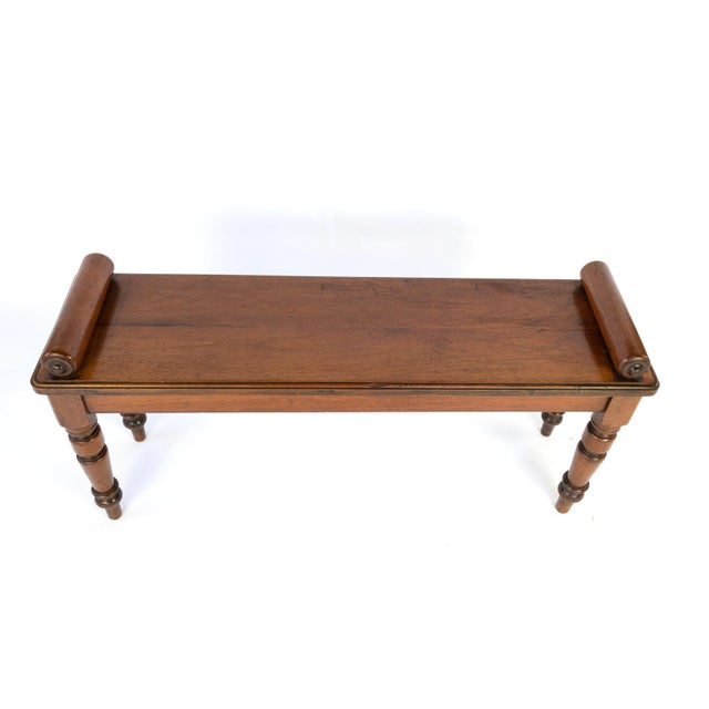 Late 19th Century Victorian Mahogany Hall Bench With Carved Bolster Arm-Rests; English, Circa 1870 For Sale - Image 5 of 10