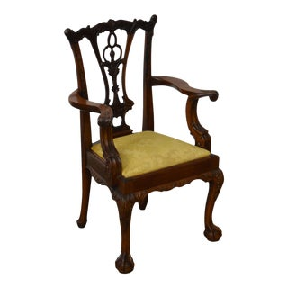 Georgian Furnishing Co. Solid Mahogany Hand Carved Chippendale Style Childs Arm Chair