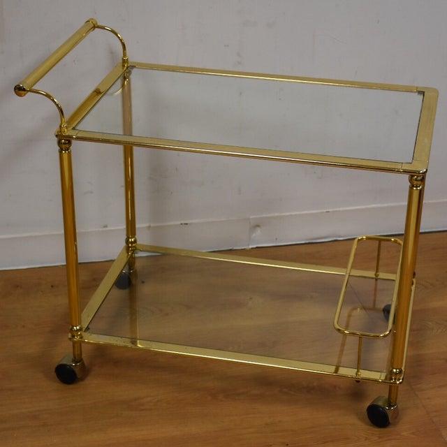 Hollywood Regency Brass Bar Cart - Image 2 of 11