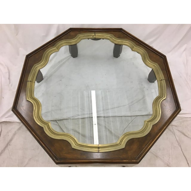 Brown Baker Mid-Century Coffee Table with Brass & Glass Tray Top For Sale - Image 8 of 11