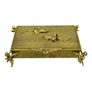 Vintage Globe 24k Gold Plated Angel Cherub Vanity Jewelry Trinket Box Mirror For Sale