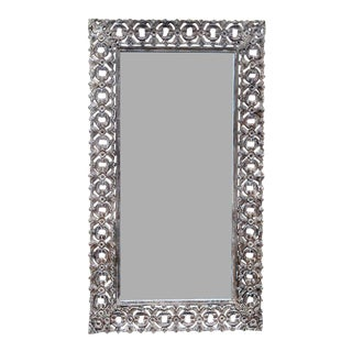Indian Hand-Carved White Washed Wooden Mirror For Sale
