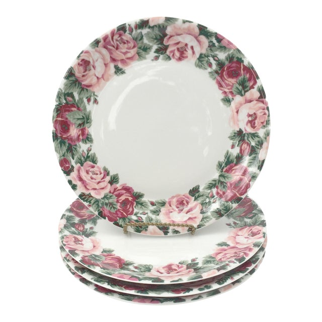 Vintage Rose Garden Dinner Plates by Block Spal - Set of 4 For Sale