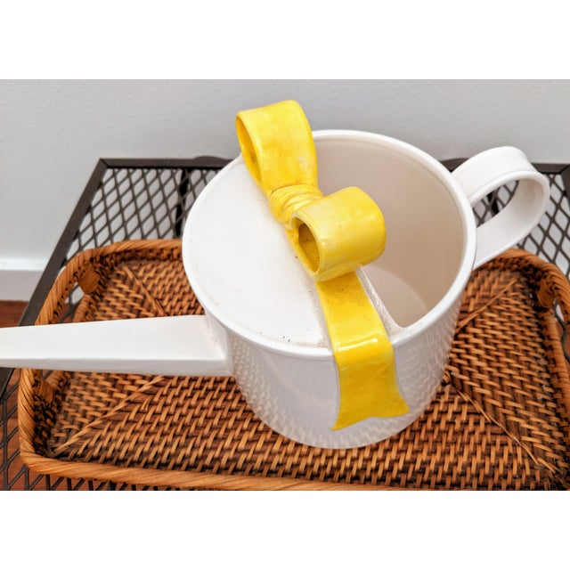 Dorothy Draper Fitz and Floyd Yellow Bow Watering Can For Sale - Image 4 of 6