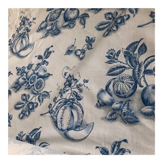 Tyler Hall White & Blue French Market Fabric For Sale