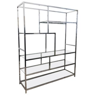 Mid Century Chrome & Glass Etagere For Sale