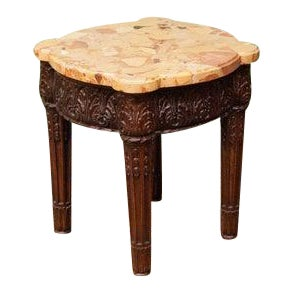 Early 20th Century Carved Marble Top Stand For Sale