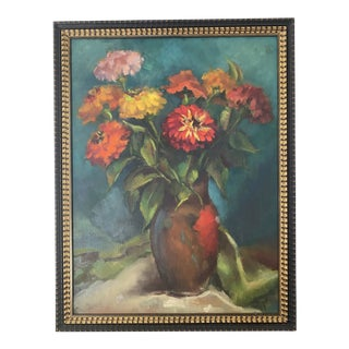Late 20th Century Original Still Life of Flowers Oil Painting, Framed For Sale