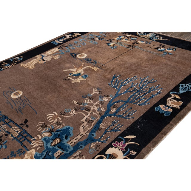 Early 20th Century Antique Art Deco Chinese Piking Wool Rug For Sale - Image 11 of 13