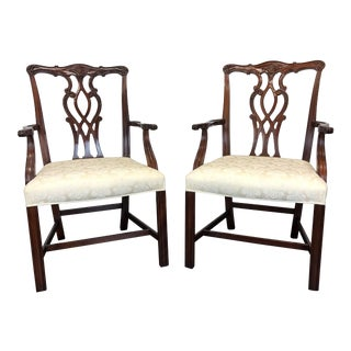 Mahogany Chippendale Straight Leg Dining Armchairs by Hickory - Pair For Sale
