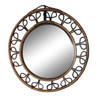 Round Rattan Mirror From Paris Flea Market For Sale