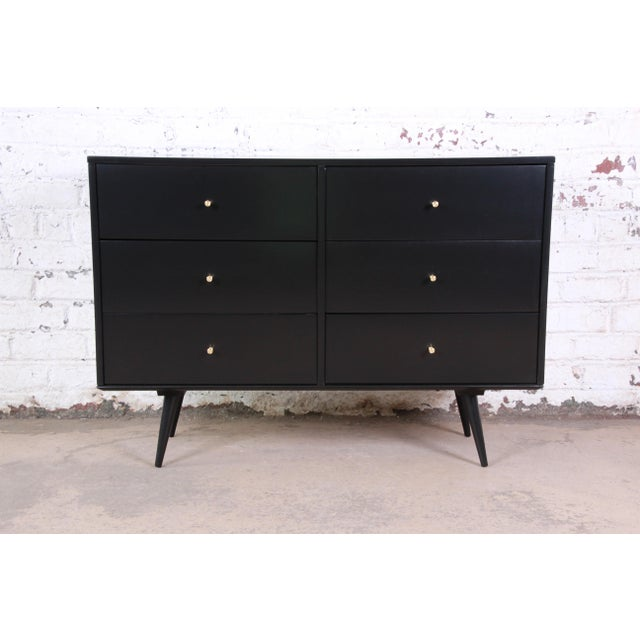 Paul McCobb Black Lacquered Planner Group Six-Drawer Dresser For Sale - Image 12 of 12
