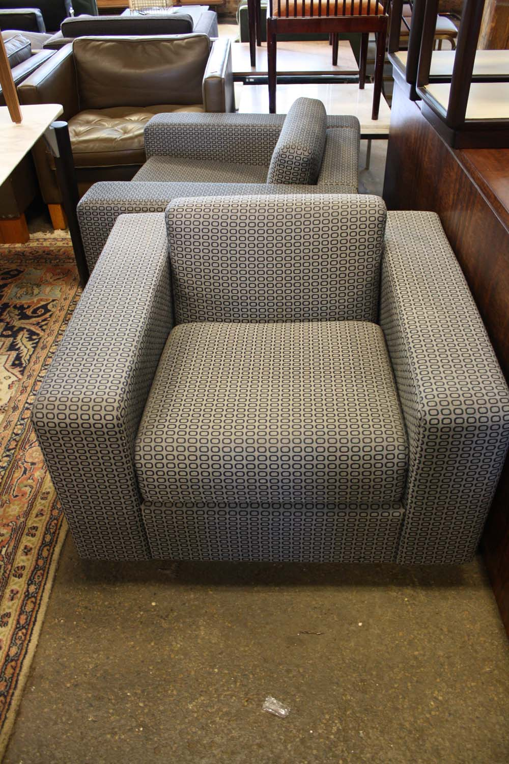 Cumberland Blue Patterned Club Chair   Image 3 Of 6