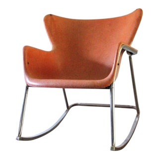 Lawrence Peabody Mid-Century Modern Wingback Rocker For Sale