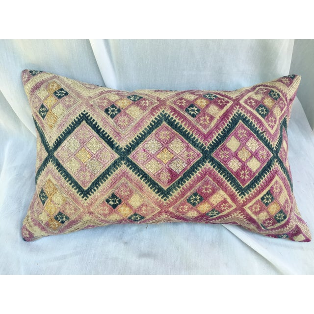 Antique Chinese Embroidered Wedding Quilt Pillow - Image 2 of 7