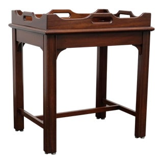Diminutive Solid Mahogany Chippendale Style Tray Table For Sale
