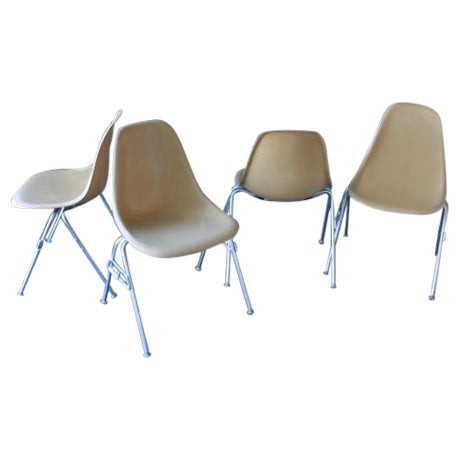 Vintage Yellow Eames Shell Chairs - Set of 4 - Image 1 of 10