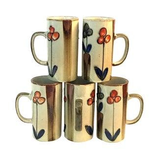 Mid-Century Tall Glazed CeramicFloral Mugs - Set of 5