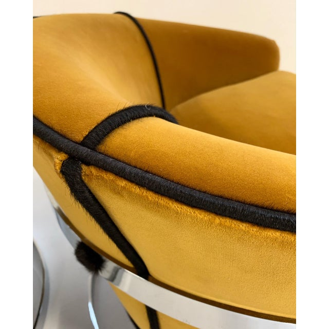 Mid Century Vintage Milo Baughman Velvet With Brazilian Cowhide Welting Lounge Chairs - a Pair For Sale - Image 9 of 13