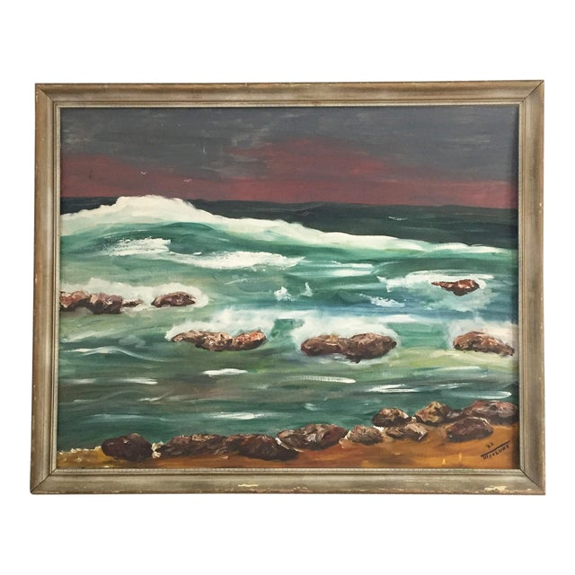 Large Vintage Ocean Landscape Oil Painting For Sale