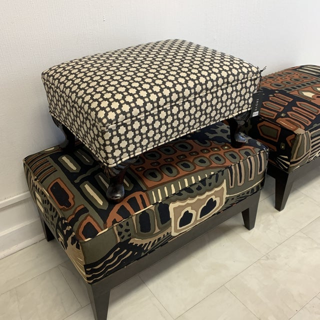 Schumacher Betwixt Vintage Foot Stool For Sale In Atlanta - Image 6 of 13