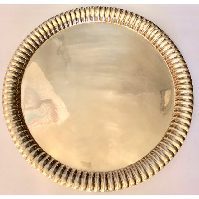 Brass Large Vintage Brass Tray From India For Sale - Image 8 of 8