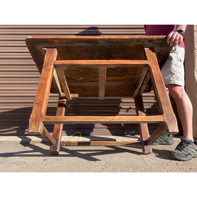 Rustic French Fruitwood Table With Stretchers For Sale - Image 11 of 13