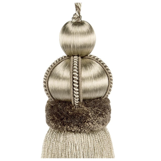 """Shabby Chic Key Tassel With Cut Ruche - Tassel Height - 5.75"""" For Sale - Image 3 of 4"""