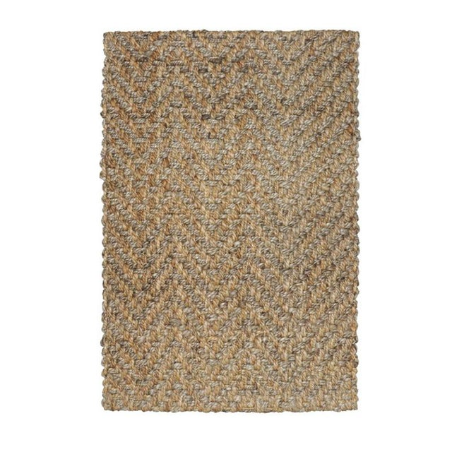 Contemporary Herringbone Two Tone Natural Jute Rug - 5 X 8 For Sale - Image 3 of 3