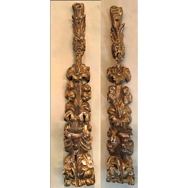 Gold 19th C Italian Giltwood Appliques Pair For Sale - Image 8 of 8