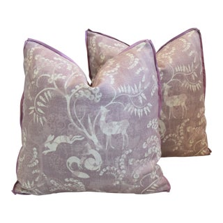 "Designer Lisa Fine Pandora Lavender Linen Feather/Down Pillows 21"" Square - Pair For Sale"
