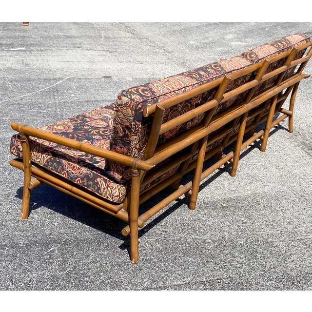 Contemporary Vintage Bamboo Long Sofa in the Manner of John Wisner for Ficks Reed For Sale - Image 3 of 9