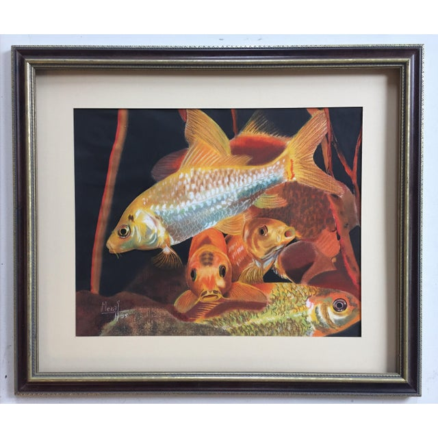 Vintage Koi Fish Original Pastel Framed - Image 3 of 6