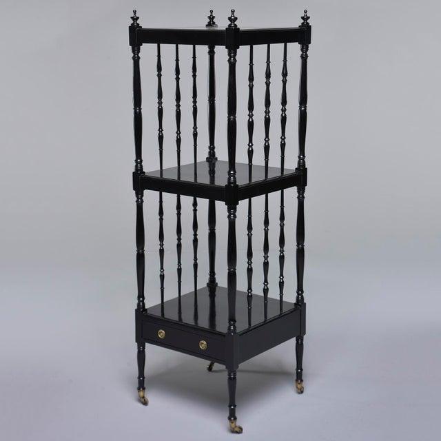 1930s English Narrow Ebonised Mahogany Etagere on Casters For Sale - Image 12 of 12