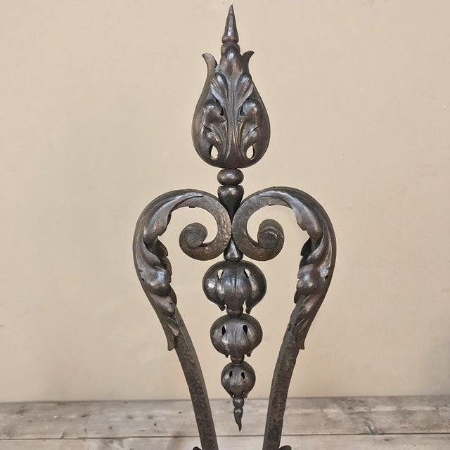 Late 19th Century 19th Century Wrought Iron Andiron & Firebox Set For Sale - Image 5 of 12
